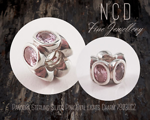 NC Designs Authentic Pandora Sterling Silver Pink Oval Lights Charm 790311CZ