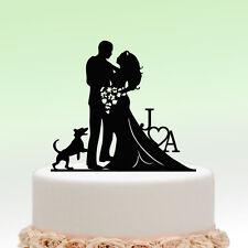 Cake Topper Personalized Groom Bride Wedding Initial Name Heart Dog Custom