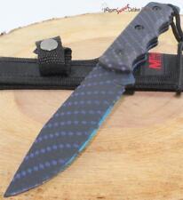 MTech Hydro Dipped Blue Diamond Full Tang Survival Skinning Hunting Knife Sheath