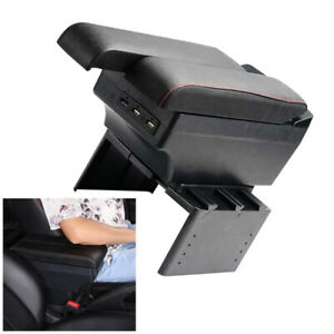 Car Telescopic Panel Dual Layer Storage USB Charge PU+ABS Central Armrest Box