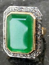 Look 925 Silver Valentine Cocktail Ring 1.55ct Rose Cut Diamond Emerald Antique