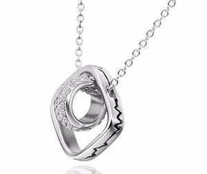 Celebrity/Fashion Silver Interlinked Double Circle 2 Ring Cz Necklace -UK Seller