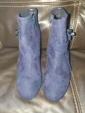 Dorothy Perkins Ladies Navy Jewelled Blue Block Heel Ankle Boots Size UK 5