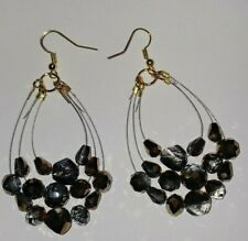 Handmade Gold, Black & Silver Faceted Glass Beads Gold Plated Set