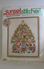 Christmas Tree Fantasy Embroidery Kit Sunset Stitchery 16x20 Vtg 1978 USA Open