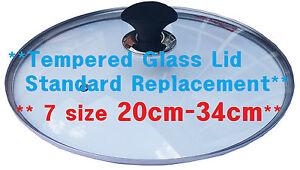 Cookware Standard Size 20 cm - 34cm Replacement Pot Pan Wok Tempered Glass Lid