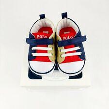 Baby Boys Ralph Lauren Designer Khaki Navy Red Pram Crib Shoes UK 3.5 / EU 19