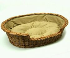 Wicker Dog Bed XL Extra Large Pet Basket Handmade Crafted Cushion Light Beige
