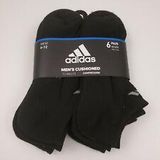 ADIDAS No Show Compression Cushion Socks 6-Pair Climalite Black NEW