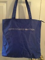 Vtg.United Colors Of Benetton Royal blue nylon tote Zipper rhinestone letters