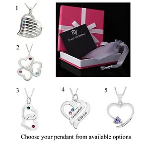 """Personalised Heart Pendant 18"""" Necklace ANY NAME Birthstone Custom Engrave Gift"""