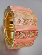 CHUNKY Coral Salmon Acrylic Crystals Lacquer Enamel Gold Stretch Bracelet