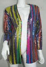 Vintage Missoni Neiman Marcus Bright Striped Sequin Cardigan Jacket S M L