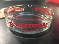 "4"" Clear Glass Boomtown Hotel Casino Reno, Nevada Ashtray. Red Lettering."