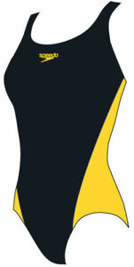 Speedo Lepa Splashback Womens, Girls, Swimsuit Black Yellow Endurance Medium Leg