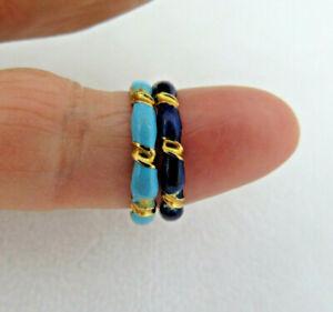 Pair Vintage Italian 18k Yellow Gold & Blue Enamel Eternity Band Rings  Sz 6 1/2