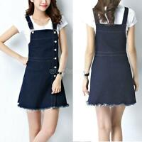 2018 Women Casual Denim Skirt Suspender Skater Overall Jumper Jean Strap Dress