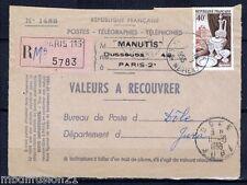 1955-DEVANT DE LETTRE/VALEURS A RECOUVRER-OBL-R-DOLE.JURA///STAMP.972/V.SCAN