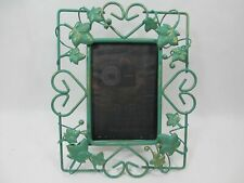"""Faux Green Patina Brass Picture Frame Maple Leaf Berries Heart Easel Back 3x5"""""""