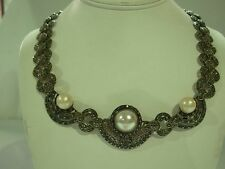 VINTAGE SIGNED BOMA ART DECO STYLE STERLING SILVER MARCASITE FAUX PEARL NECKLACE