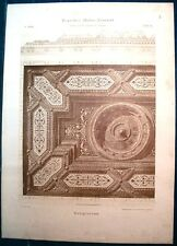 Stampa antica SOFFITTO in LEGNO INTARSIATO a cassettoni 1910 Old antique print