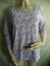 Basic Editions Woman's ¾ Sl Blouse Poly/Cotton VGC: Purple Floral or Cream Geo