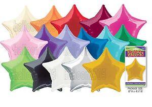 "20"" Plain Coloured Star Foil Balloons Party Helium Quality Wedding 14 colours"