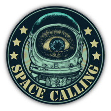 "Space Calling Emblem Astronaut NASA Car Bumper Sticker Decal 5"" x 5"""