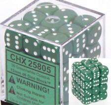 Chessex Dice d6 Sets Opaque Green with White 36 12mm Six Sided Die CHX 25805