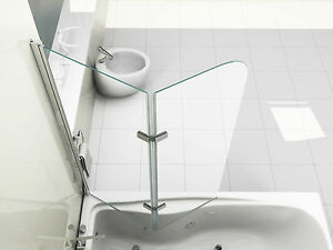 180° Pivot Glass Over Bath 2 Fold Folding Shower Screen Bath Door Panel & Seal
