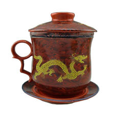 Chinese Dehua Porcelain Teacup Gold Dragon Tea Cup with Lid, Saucer and Filter