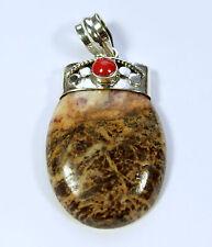 Jaspe con bambukoralle COLGANTE DE PLATA 925 piedra preciosa, joya, HERMOSO