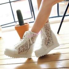 Womens Ladies High Top Ankle Boots Lace Mesh Summer Hidden Wedge Sneakers Floral