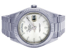 Mens Rolex 18K White Gold Day-Date II 41MM President 218239 Fluted Bezel Watch