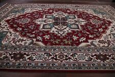 Traditional Geometric RED/TEAL/IVORY Heriz Hand-Knotted Wool Area Rugs 10x14 New