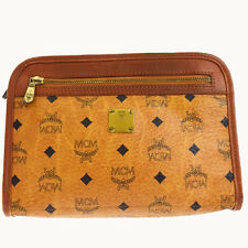 Authentic MCM Pattern Logos Clutch Hand Bag Leather Brown Gold Germany 07A103