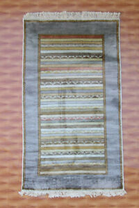 Silk Rugs Morden Hand Knotted Striped Oriental carpet Multi Mat Colour 3x5 Foot