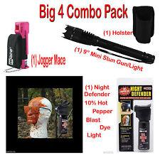 Big 4 Self Defense Combo Pack - Stun Gun - Holster- 10% Mace Blast- Joggers Mace