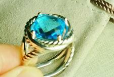 David Yurman Sterling Silver Color Classics Ring, Blue Topaz, size 6.25
