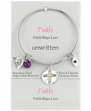 Unwritten Faith Charm and Amethyst (8mm) Bangle Bracelet in Stainless Steel