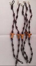 Set n. 5 bracciale pellegrino Tau legno ulivo corda 10 nodi San Francesco Assisi
