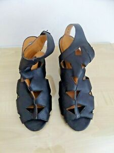 River Island Black Leather Gladiator Sandals with Heel Size 7 - Worn Once