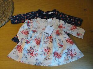 Lovely Next Baby Girls 2 Pack Tunic Tops Newborn 0 1 3 Months BNWT FREEPOST