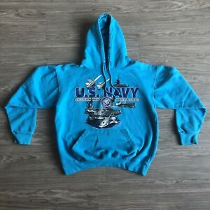 Vintage U.S. Navy Pacific & Co Military Blue Graphic Pullover Hoodie Size Medium