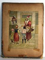 "10"" Antique Print Mother Goose Childrens Illustration Book Cover McLoughlin Bros"