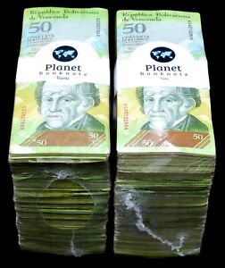 2007-2014 Venezuela $50 Bolivares 2 Used Bricks 2000 Pcs Cool Color SKU507 Rare