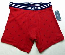 Nautica Men's Boxer Briefs Small Red Navy Sails Stretch Cotton New Msrp$28
