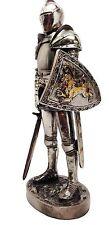 """MEDIEVAL KNIGHT 7"""" TALL VALIANT SWORDSMAN STATUE FIGURINE SUIT OF ARMOR"""