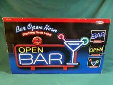 Neon Open Bar Flashing Neon Light Sign-will flash or stay on-Neon Art 18x10x2