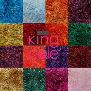 KING COLE Tinsel Chunky Yarn Knitting Crochet Polyester & Lurex Mix 50g
